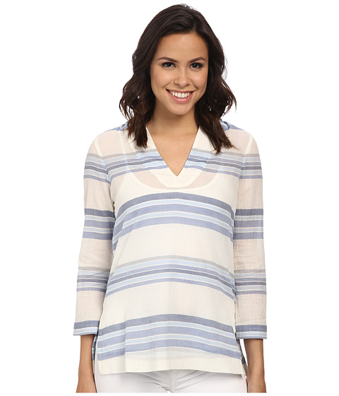 Tommy Bahama - Porta Stripe Hooded Tunic (Billowy Blue) Women's Sweatshirt