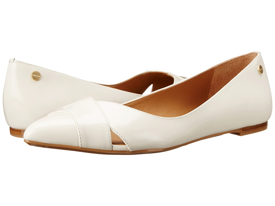 Calvin Klein - Gailia (Parch White Box Leather) Women's Dress Flat Shoes