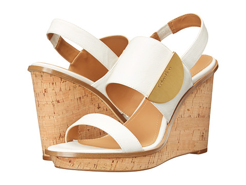 Calvin Klein - Padma (Platinum WHite Toscana Leather) Women's Wedge Shoes