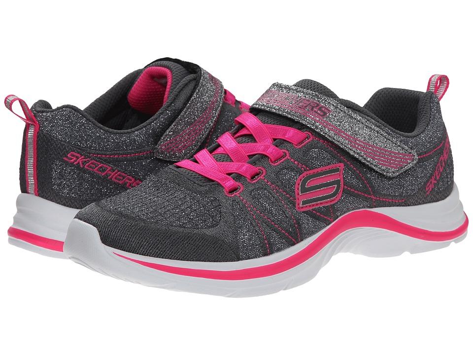 SKECHERS KIDS - Swift Kicks 81498L (Little Kid/Big Kid) (Charcoal/Neon Pink) Girl's Shoes