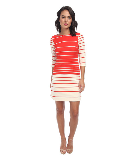 Donna Morgan - 3/4 Sleeve Scuba Aline Boat Neck Dress (Red/Whitecap) Women's Dress