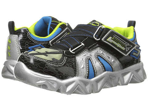 SKECHERS KIDS - Datarox 90460L Lights (Little Kid) (Black/Silver) Boys Shoes