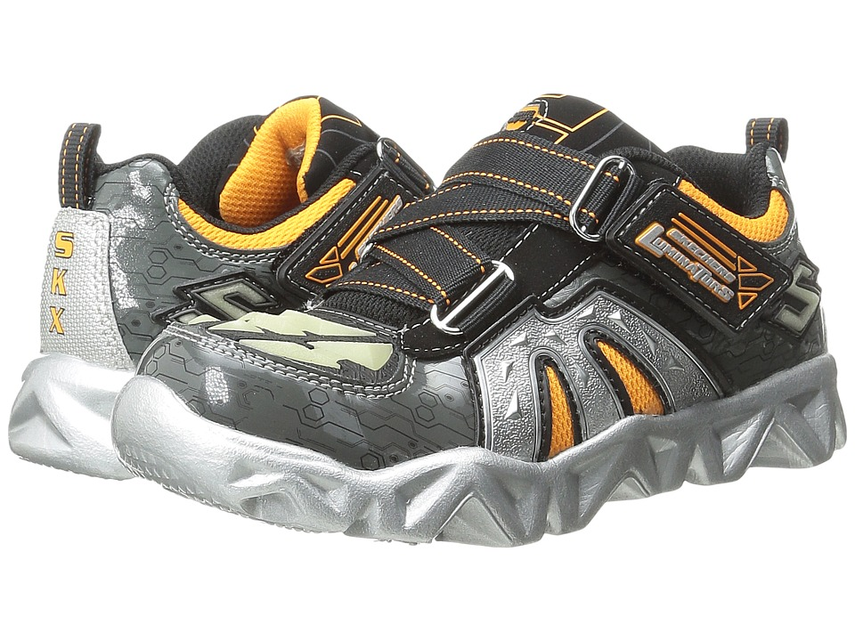 SKECHERS KIDS - Datarox 90460L Lights (Little Kid) (Charcoal/Orange) Boys Shoes