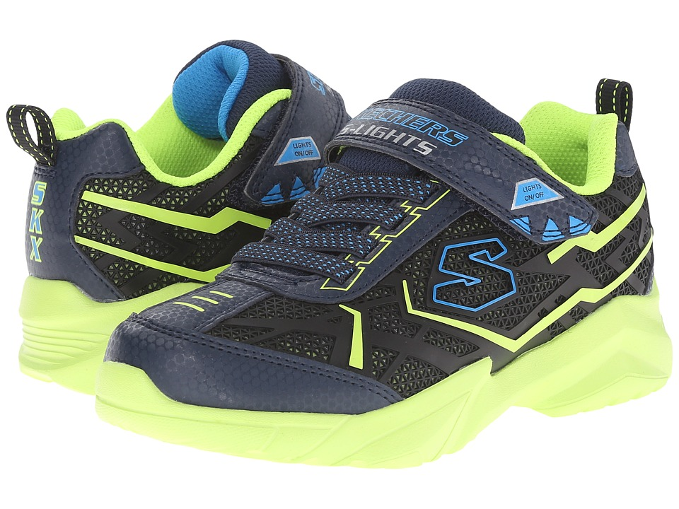 SKECHERS KIDS - Broozer 90440L Lights (Little Kid) (Navy/Lime) Boys Shoes
