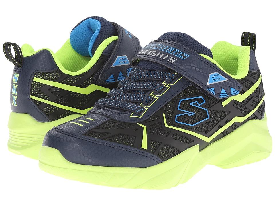 SKECHERS KIDS - Broozer 90440L Lights (Little Kid) (Navy/Lime) Boys Shoes