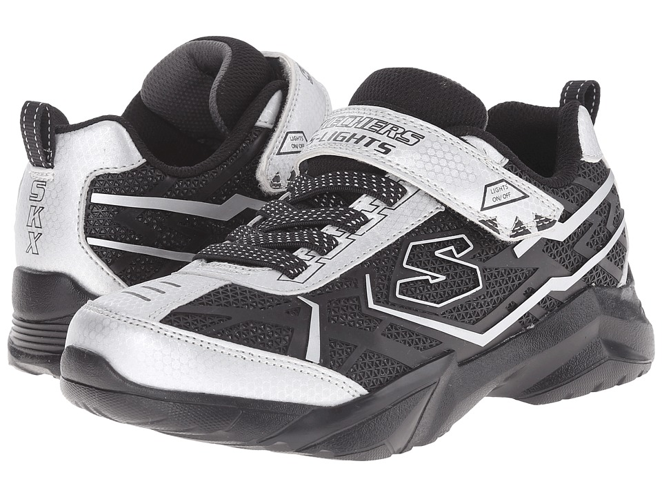 SKECHERS KIDS - Broozer 90440L Lights (Little Kid) (Silver/Black) Boys Shoes