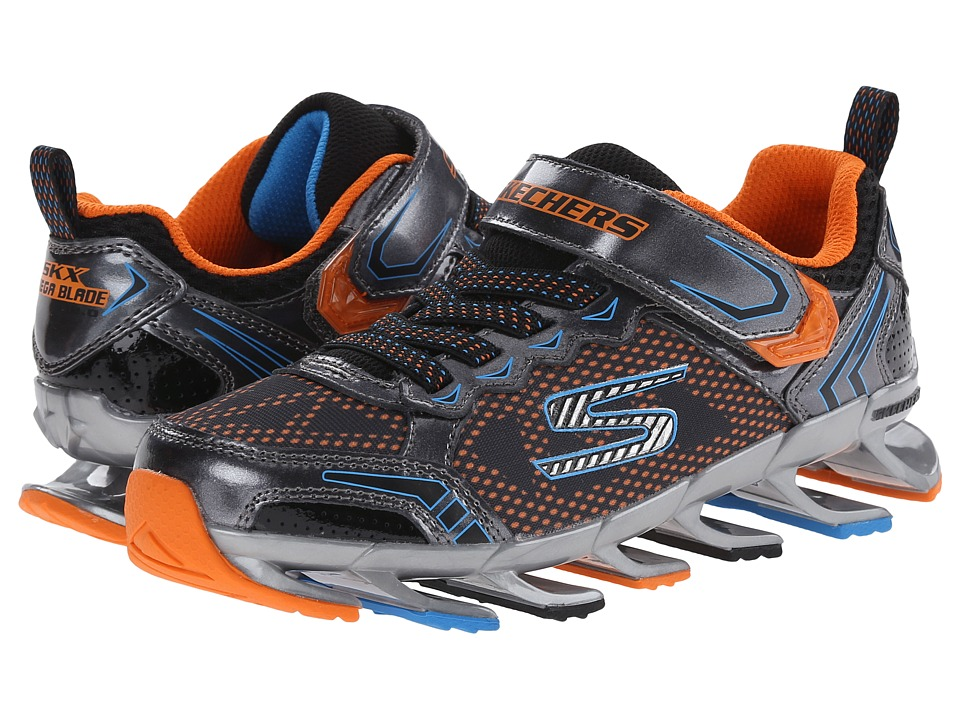 SKECHERS KIDS - Mega Blade 2.0 95571L (Little Kid/Big Kid) (Gunmetal/Orange) Boy's Shoes