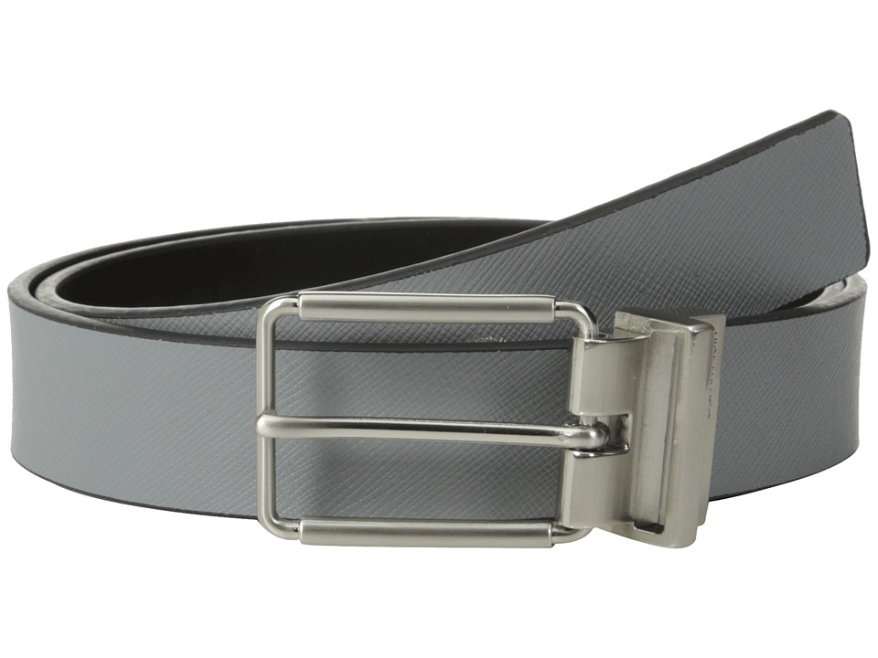 Calvin Klein - 32mm Reversible Flat Strap Saffiano Leather To Smooth (Grey/Black) Men's Belts