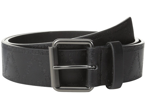 Calvin Klein - 40mm Flat Strap w/ Emboss City Grid Logo (Black) Men's Belts