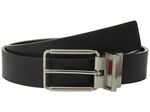 Calvin Klein - 32mm Reversible Flat Strap Saffiano Leather To Smooth (Black/Black) Men