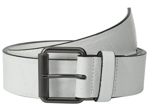 Calvin Klein - 40mm Flat Strap w/ Emboss City Grid Logo (White) Men's Belts