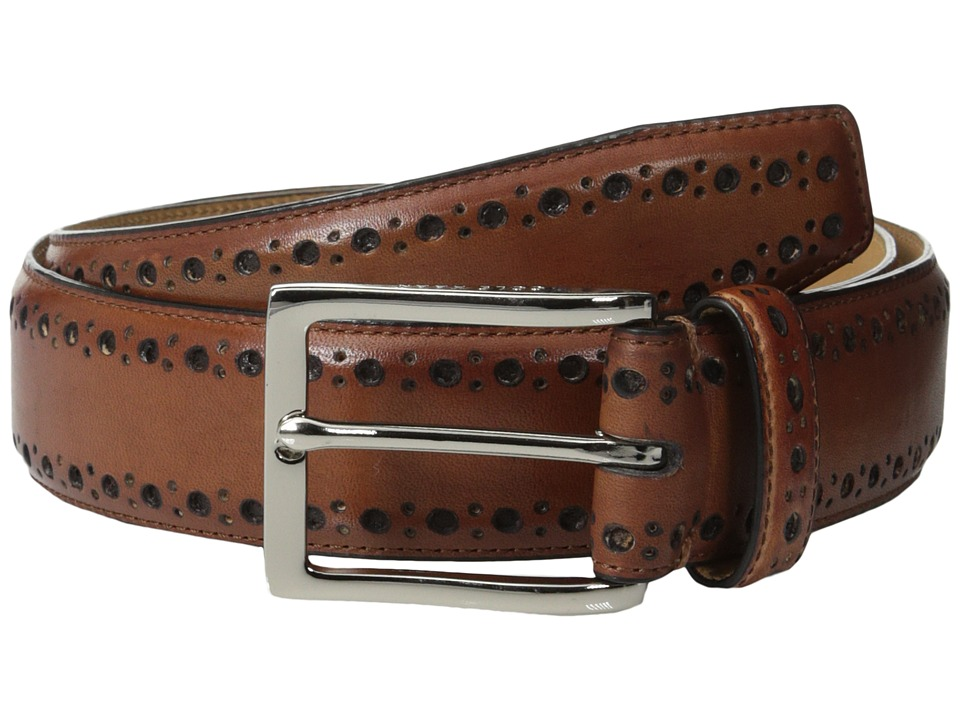 Cole Haan - 35mm Feather Edge Stitch Strap w/ Perf (Tan/Nubuck) Men's Belts