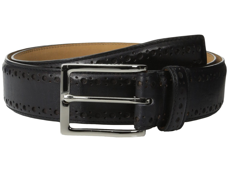 Cole Haan - 35mm Feather Edge Stitch Strap w/ Perf (Black/Nubuck) Men's Belts