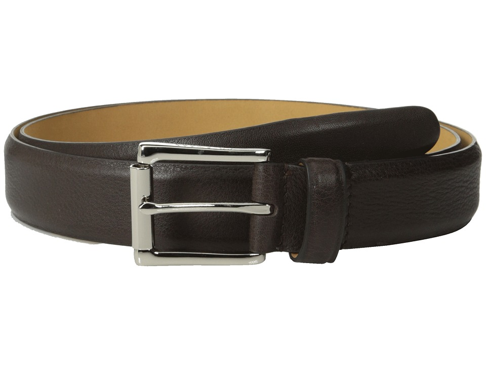 Cole Haan - 32mm Burnished Edge Mill Egyptian Cow Belt (Chocolate) Men's Belts