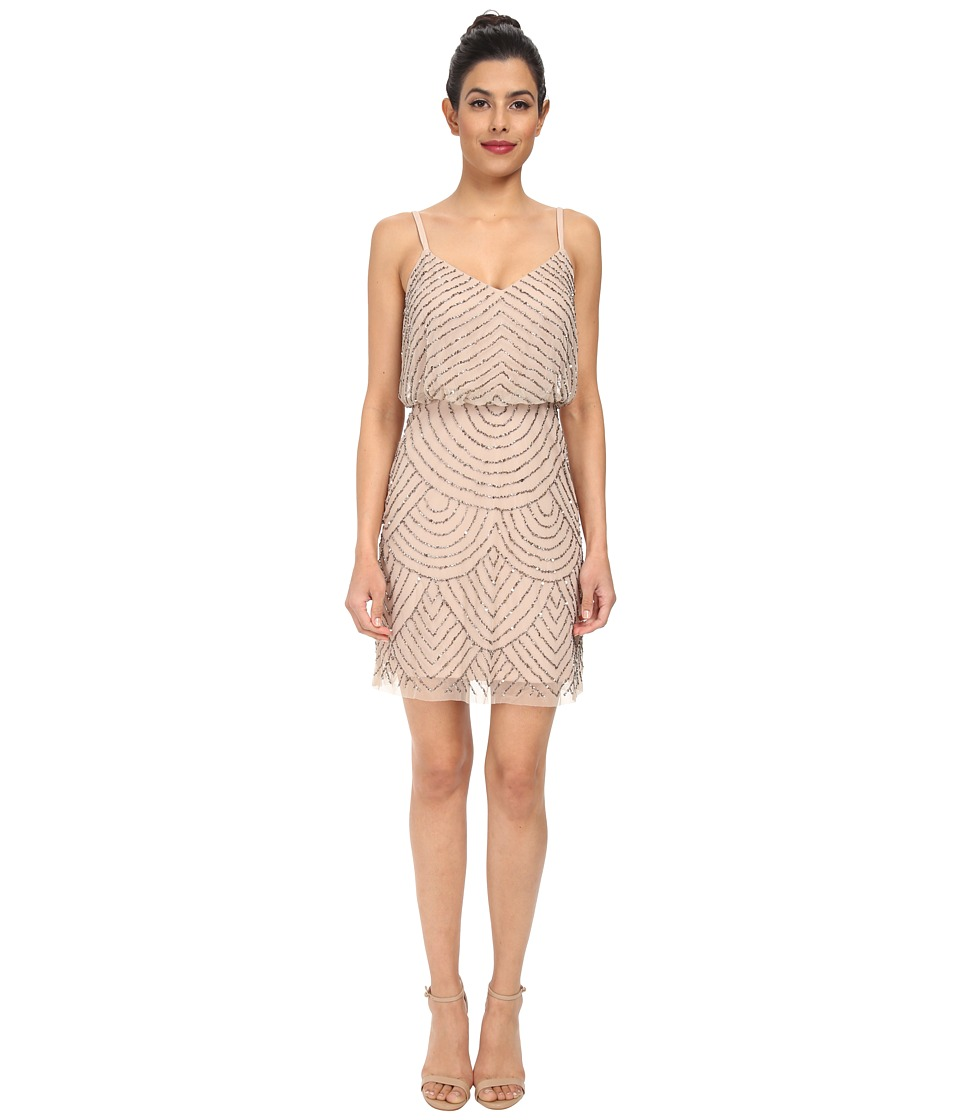 Adrianna Papell Blouson Bead Dress (Taupe/Pink) Women