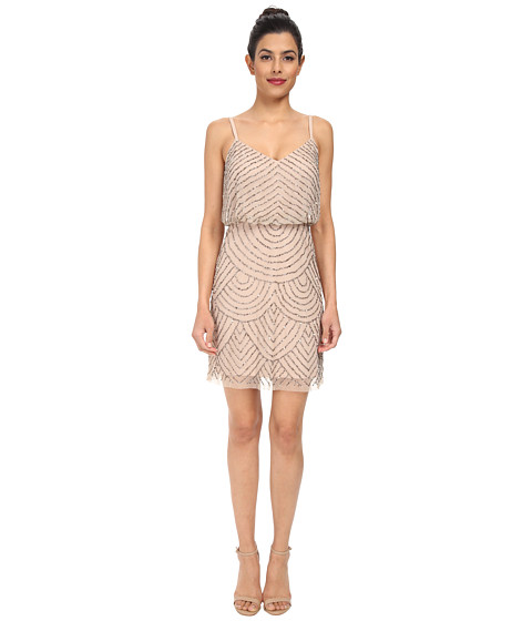 Adrianna Papell - Blouson Bead Dress (Taupe/Pink) Women