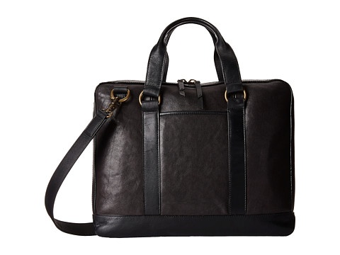 John Varvatos - Milano Leather Attache (Black) Messenger Bags