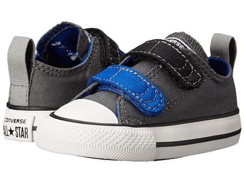 Converse Kids - Chuck Taylor All Star 2V Ox (Infant/Toddler) (Thunder/Blue/Black) Boys Shoes