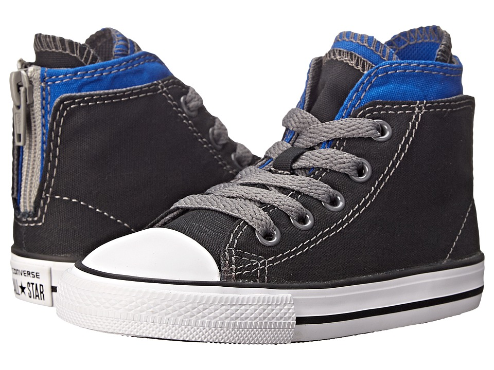 Converse Kids - Chuck Taylor All Star Zipback Hi (Infant/Toddler) (Black/Blue/Thunder) Boys Shoes
