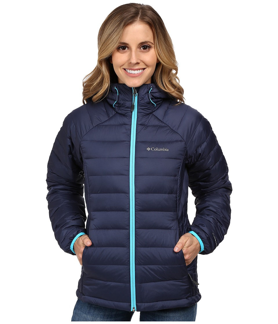 Columbia - Platinum Plus 860 TurboDown Hooded Jacket (Nocturnal/Atoll) Women's Coat