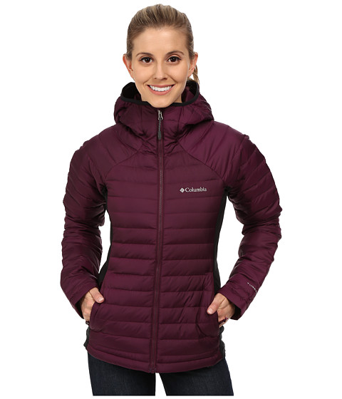 Columbia - Gold 750 TurboDown Hybrid Hooded Jacket (Purple Dahlia/Black) Women