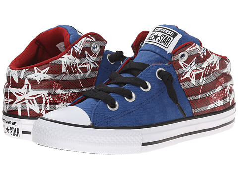 Converse Kids - Chuck Taylor All Star American Icon Mid (Little Kid/Big Kid) (Blue Jay/Chili Paste/White) Boys Shoes