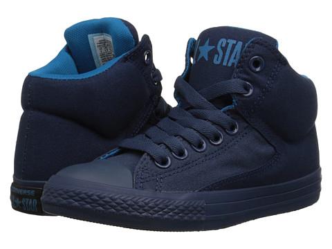 Converse Kids - Chuck Taylor All Star Monochrome Hi (Little Kid/Big Kid) (Navy/Cyan Space/Nighttime Navy) Boys Shoes