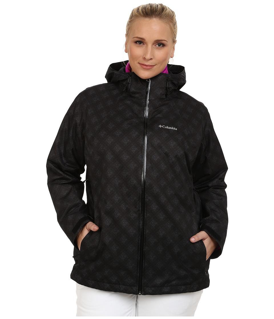 Columbia - Plus Size Whirlibird Interchange Jacket (Black Plaid Print) Women