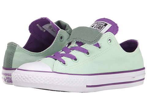 Converse Kids - Chuck Taylor All Star Double Tongue Ox (Little Kid/Big Kid) (Mint Julep/Allium Purple/Sage) Girls Shoes