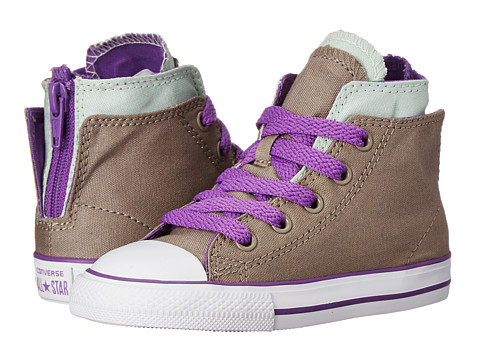 Converse Kids - Chuck Taylor All Star Zipback Hi (Infant/Toddler) (Malt/Mint Julep/Allium Purple) Girls Shoes