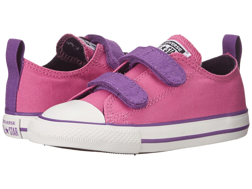 Converse Kids - Chuck Taylor All Star 2V Ox (Infant/Toddler) (Dahlia Pink/Allium Purple/Eggplant Peel) Girls Shoes