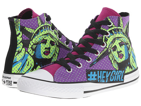 Converse Kids - Chuck Taylor All Star American Icon Hi (Little Kid/Big Kid) (Pink Sapphire/Green Gecko/Allium Purple) Girls Shoes