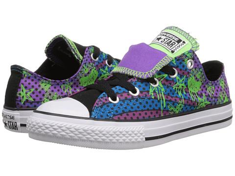 Converse Kids - Chuck Taylor All Star American Icon Double Tongue Ox (Little Kid/Big Kid) (Allium Purple/Green Gecko/Black) Girls Shoes