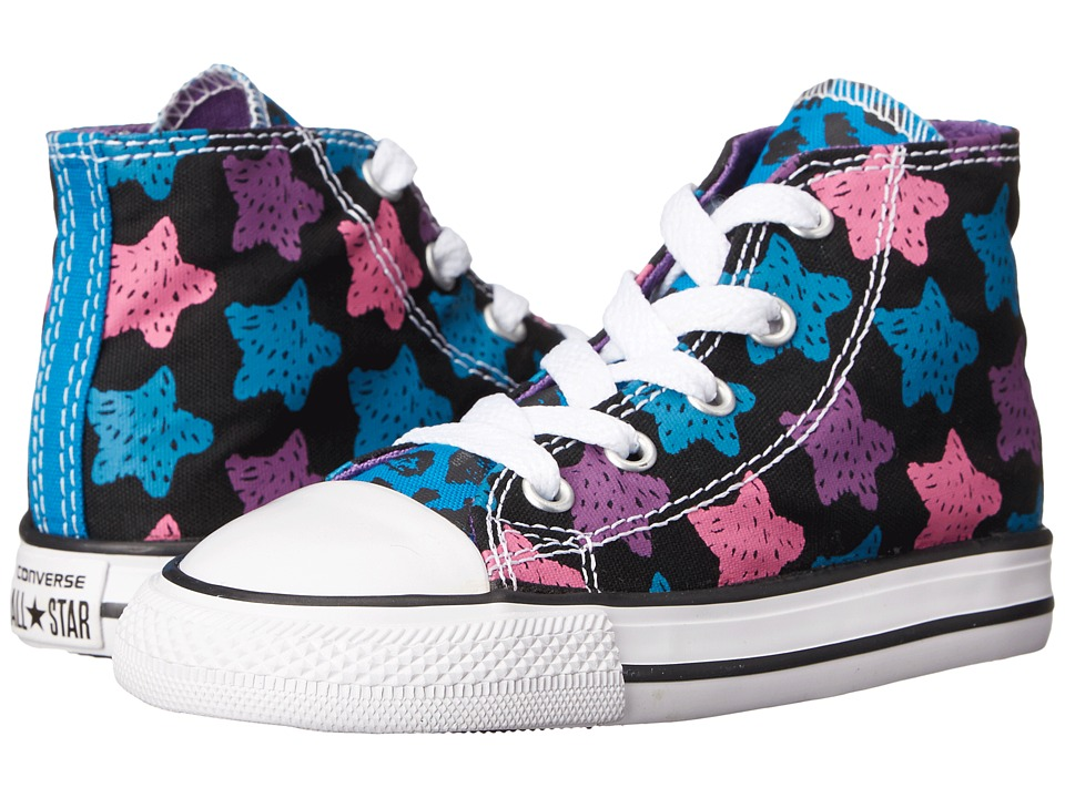 Converse Kids - Chuck Taylor All Star Animal Color Hi (Infant/Toddler) (Cyan Space/Black/Dahlia Pink) Girls Shoes