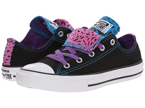 Converse Kids - Chuck Taylor All Star Animal Color Double Tongue Ox (Little Kid/Big Kid) (Black/Allium Purple/Dahlia Pink) Girls Shoes