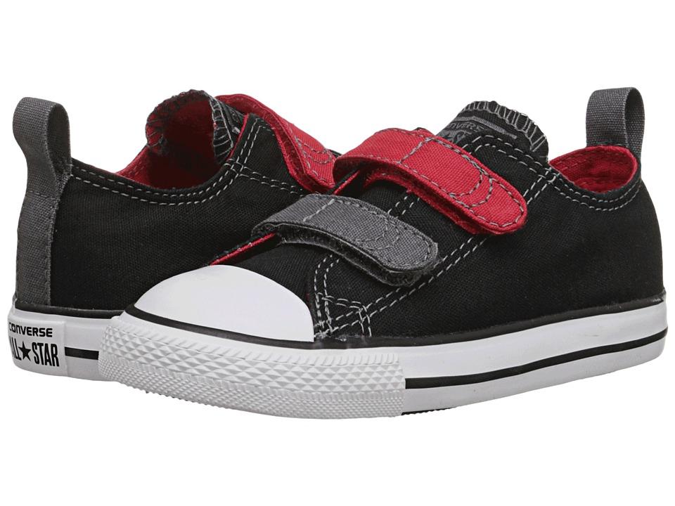 Converse Kids - Chuck Taylor All Star 2V Ox (Infant/Toddler) (Black/Casino/Thunder) Boys Shoes
