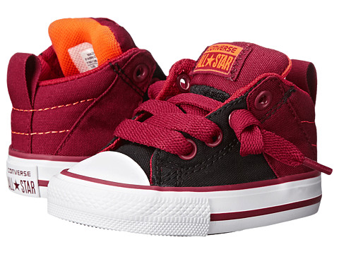 Converse Kids - Chuck Taylor All Star Axel Mid Leather (Infant/Toddler) (Black/Chili Paste/Casino) Boy
