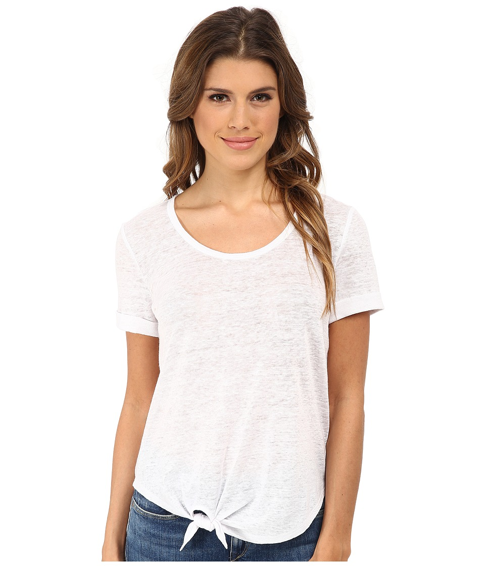 C&C California - Roll Sleeve Tee w/ Side Tie Detail (Optic White) Women's T Shirt
