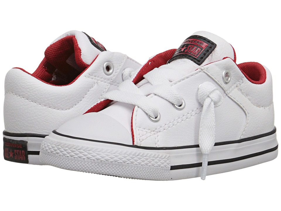 Converse Kids - Chuck Taylor All Star Leather Mix High Street Slip (Infant/Toddler) (White/Black/Casino) Boys Shoes