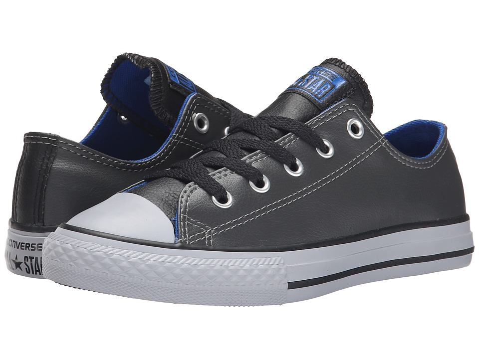 Converse Kids - Chuck Taylor All Star Leather Mix Ox (Little Kid/Big Kid) (Thunder/Black/Blue) Boys Shoes