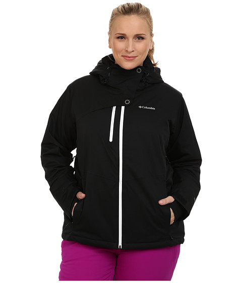 Columbia - Plus Size Mile Summit Jacket (Black/White) Women's Coat