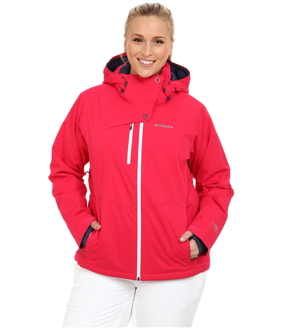 Columbia - Plus Size Mile Summit Jacket (Ruby Red/White) Women's Coat