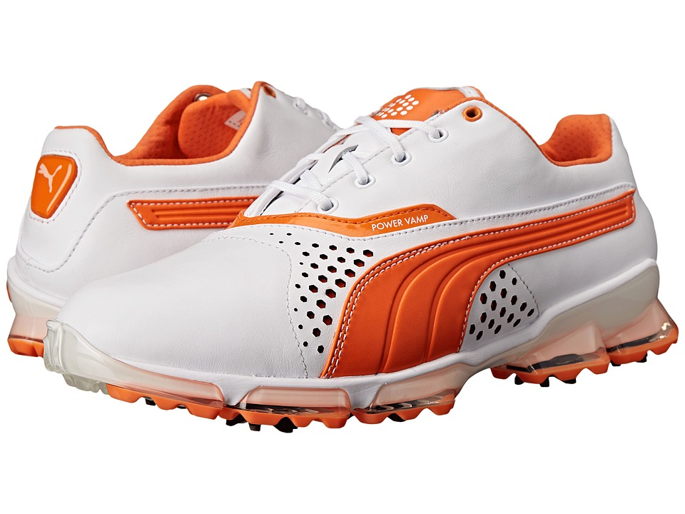 PUMA Golf - Titantour (White/Vibrant Orange) Men's Golf Shoes