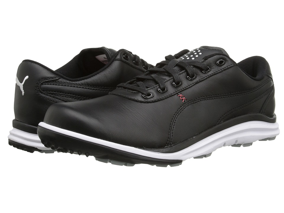 PUMA Golf - Biodrive Leather WB (Black/White/Tango Red) Men's Golf Shoes