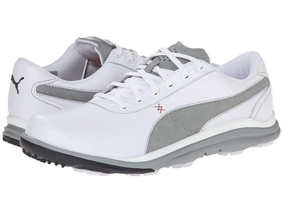 PUMA Golf - Biodrive Leather WB (White/Limestone Gray) Men's Golf Shoes