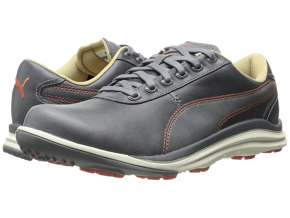 PUMA Golf - Biodrive Leather (Steel Gray/Spicy Orange) Men's Golf Shoes