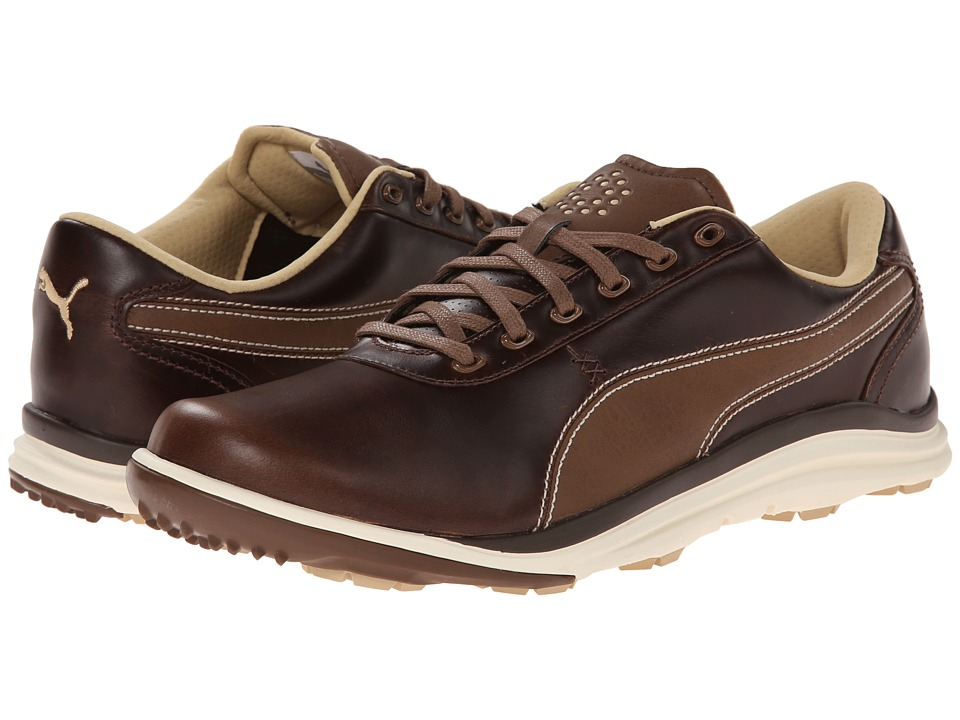 PUMA Golf - Biodrive Leather (Bison Brown/White Swan) Men's Golf Shoes