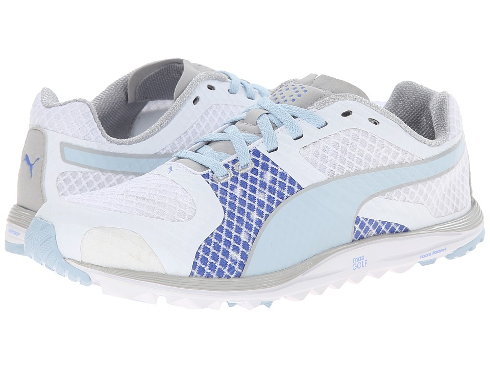 PUMA Golf - Faas Xlite (White/Omphalodes/Ultramarine) Women's Golf Shoes
