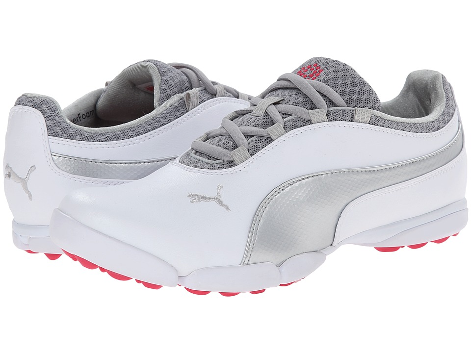 PUMA Golf - Sunnylite (White/Puma Silver/Raspberry) Women's Golf Shoes