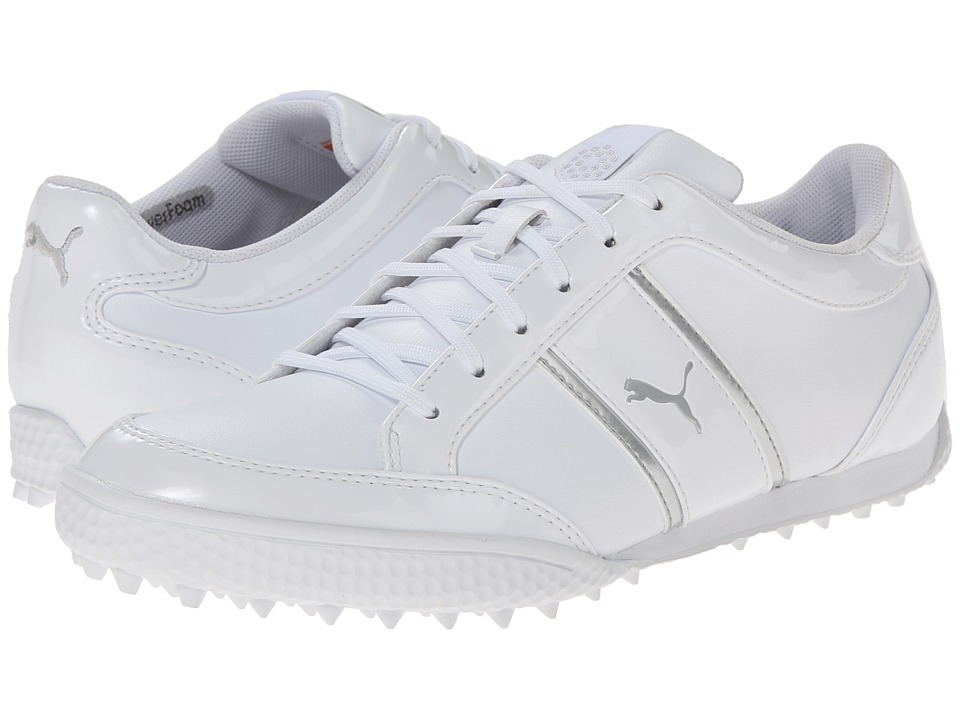 PUMA Golf - Monolite Cat (White/Puma Silver) Women's Golf Shoes